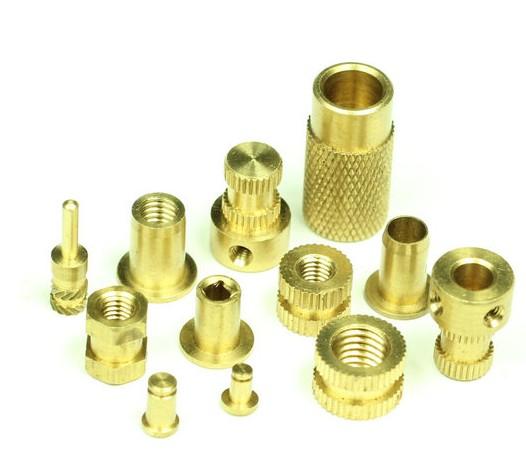 铜质螺柱螺母滚花车牙钻孔加工
